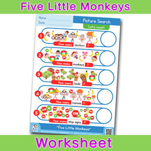 Five Little Monkeys Worksheets BINGOBONGO Picture Search 1