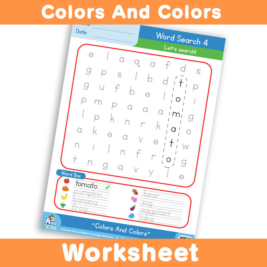 Free Colors And Colors Worksheet - Word Search 4