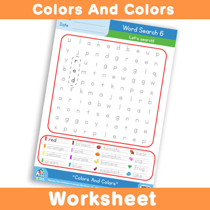 Free Colors And Colors Worksheet - Word Search 6