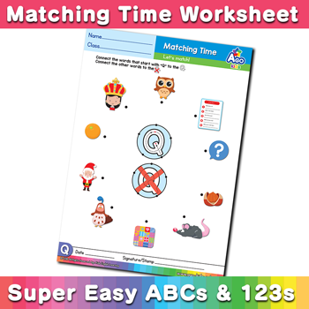 Words that start with Q Phonics Matching Time