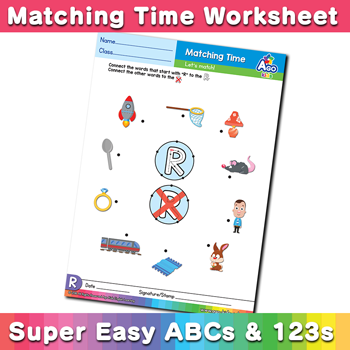 Words that start with R Phonics Matching Time
