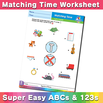 Words that start with T Phonics Matching Time