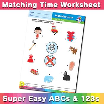 Words that start with G Phonics Matching Time