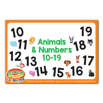 animals & numbers flashcards 10-19