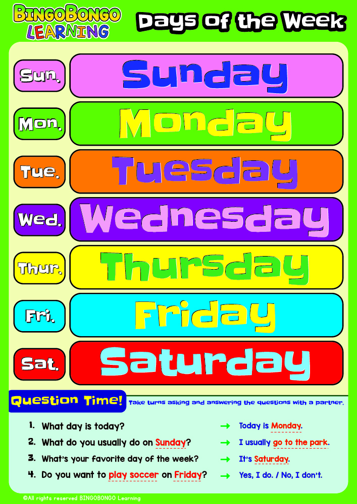 Days of the Week Classroom Poster Thumb
