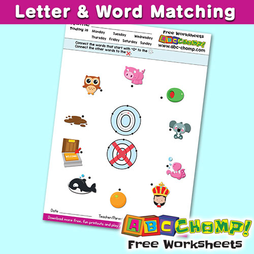 O Letter Word Matching Printout ABCCHOMP